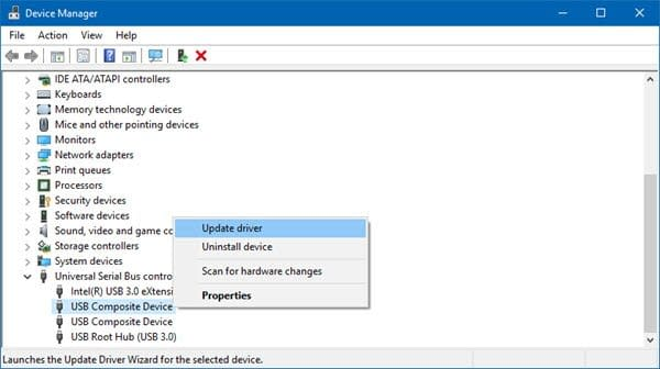 Update Device Manager in Windows 10