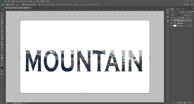 """How to fill images under Text in Adobe Photoshop CC 2019 Filling image under the text layer, display a creative look. A favorite and classic image in the background creates a beautiful impression. Here is the guide that how to fill images in the text in Adobe Photoshop CC 2019 or other versions. Step-1: Create a New Document in Adobe Photoshop: Open your photoshop and create a New Document in your default Width and Height. Let's says we have taken 1920 Pixels as a width and 1080Pixels as a height which is we commonly used. Step 2- Select a Background Image: First off all you can select a background image what your want to display under the text layer in adobe photoshop. You can download a free stock photo from the web platform such that Pexels, Pixabay. We have downloading this image and add background the adobe Photoshop. Just simple Drag and drop option. Step-3: Add Text layer in Photoshop: Now, you have to a add a text layer in that photoshop file using Type tool or you can simple press T on the keyboard. Now you can write what you want to design. Let's say I have written """"MOUNTAIN"""". Change your font bold and more familiar which will be displayed more unique and visible as like the displayed image. You can Move (V) your text and enlarge that text as per your choice. Leave it as per default colors because it does not effect on your color. It will replace color to a transparent. Step-4: Move text layer under the background image: Now you have to move your image layer top of the text layer to applying the affect. Simple move inter layer to make changes. Step-5: Fill your text with background image: Now this is the final step. Select the image layer and press CTRL + ALT +G in your keyboard and boom! Your background image marge with your written text. Now reposition your image for better result and experience. You can change your Hue/Saturation of that image which will help to provide better look and feel. Step-6: Save and Export images: After completing all the compo"""